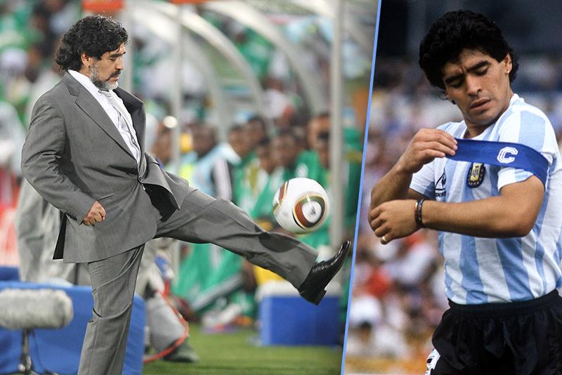 Maradona hält den Ball hoch